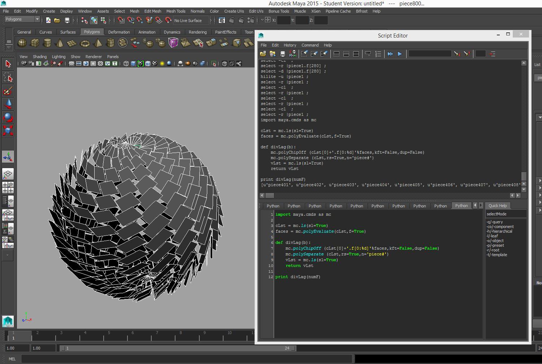 Explode object by face, Python script, Maya | urbanizone